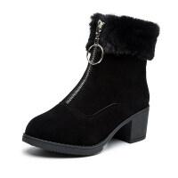 瘦瘦靴子女秋冬季短靴2018新款粗跟平底加绒短筒黑色磨砂短靴女鞋 黑色-绒里