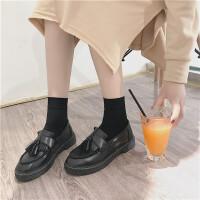英伦流苏小皮鞋女学院风韩版厚底复古学生一脚蹬平底漆皮单鞋 黑色