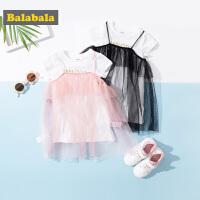 巴拉巴拉童�b女童�B衣裙夏季2019新款�和��裙小童����裙子T恤女