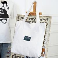 韩版帆布包单肩简约斜跨小清新休闲学生大手提袋夏