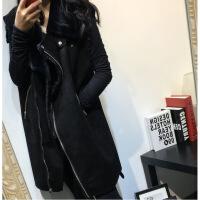 2019新款冬装新韩版宽松大码中长款皮毛一体皮草马甲机车皮衣外套加厚女 黑色(黑)