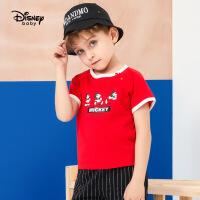 【119元4件】迪士尼童装男童2020夏新款探险日记男童针织撞色卡通插肩短袖T恤