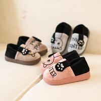 儿童AB面招财猫可爱卡通软底冬季新款拖鞋包跟男女童小童宝宝棉鞋