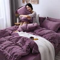 网红刺绣水晶绒四件套冬季珊瑚绒双面绒法兰绒床单床上用品冬季y