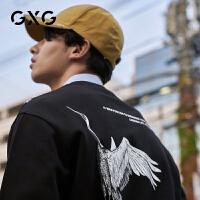 GXG男装2020秋季热卖时尚国潮仙鹤胶印黑色微落肩圆领套头卫衣男