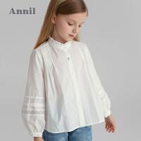 【2件4折价:107.6】安奈儿童装女童衬衫泡泡长袖2021新款洋气法式女孩衬衣纯棉上衣秋