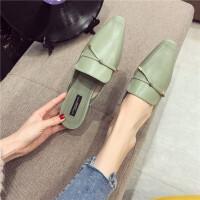 拖鞋女2019春季新款时尚小方头半包头拖鞋简约百搭外穿休闲女鞋