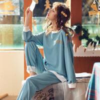 睡衣女冬秋冬纯棉长袖薄款韩版甜美可爱冬季全棉家居服套装可外穿