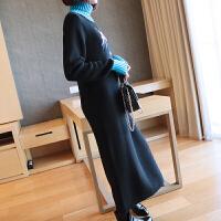 秋冬季连衣裙女加厚保暖内搭中长款刺绣高领毛衣裙长袖打底针织裙 均码