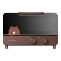 九阳电烤箱KX12-J87棕色 Line布朗熊 家用烘焙小型多功能全自动迷你一人食烤蛋糕