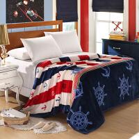 珊瑚绒毯子冬季加厚法兰绒毛毯床单夏季学生单人宿舍双人被子薄款k 红色 航海日志-加厚 2*2.3米 (易清洗)