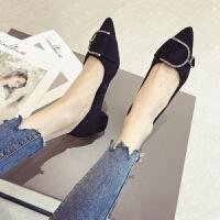鞋子女2019新款女鞋春季韩版黑色尖头中高跟鞋水钻粗跟单鞋低跟鞋