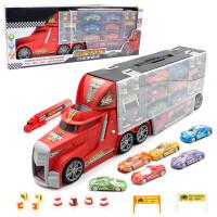 贝贝鸭【大号声光 18件套】儿童合金货柜车玩具大货车男孩滑行套装