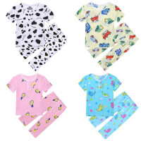 夏季儿童棉绸睡衣宝宝小孩子短袖薄款套装男童女童绵绸亲子家居服
