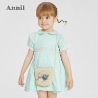 【2件4折价:147.6】安奈儿童装女童短袖连衣裙2021新款洋气蕾丝边公主裙夏季宝宝裙子