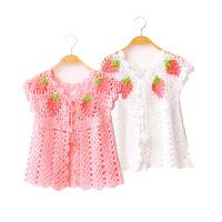 春装新款大童装 女童毛衣 儿童夏装开衫镂空针织衫