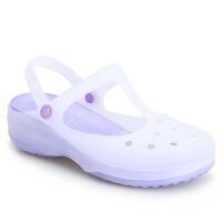 拖鞋女夏季新款印花洞洞鞋凉拖鞋塑料果冻鞋厚底学生防滑沙滩鞋
