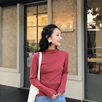 新年特惠打底衫女韩版修身紧身套头纯色半高领针织衫打底衫上衣长袖秋冬女 均码