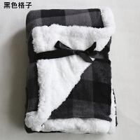北美欧式长毛绒毯子绒双层盖腿小毛毯宿舍办公室午睡毯k 70cmX100cm 双层加厚
