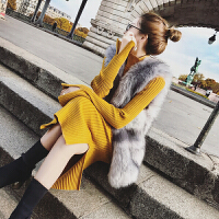 加厚保暖中长款针织毛衣裙女秋冬新款过膝打底长裙