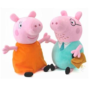 Peppa Pig 小猪佩奇 男女孩儿童宝宝毛绒安抚公仔玩具 布娃娃礼物 30厘米猪爸猪妈
