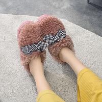 毛绒棉拖鞋女冬季包跟可爱室内家用防水保暖防滑坡跟增高2019新款