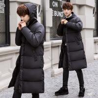 羽绒服男士保暖男连帽中长款加厚冬季服青年韩版潮流保暖外套 黑色