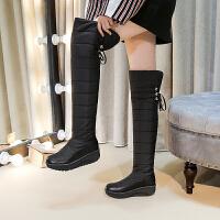 冬季过膝长靴女2018新拼保暖加绒厚底羽绒靴雪地靴40-43大码