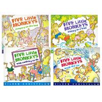 【满300-100】五只小猴子系列5册合售Five Little Monkeys英文原版绘本 五只猴子在床上蹦蹦跳/坐在