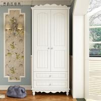 田园小衣柜两门移门木质欧式实木衣柜 双门衣柜 荷花白 2门