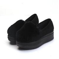 厚底毛毛鞋�r尚松糕鞋女坡跟冬新品�涡�女鞋��毛滑百搭豆豆鞋