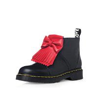 【 限时3折】哈森旗下爱旅儿女鞋帅气马丁靴拼色撞色蝴蝶结流苏短靴EA68233