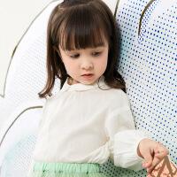 【3件7折价:160.3元】马拉丁童装女小童衬衫春装2020年新款娃娃领白色小衫百搭衬衫