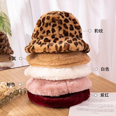 豹纹渔夫帽子女士秋冬季韩版潮百搭日系可爱冬天羊羔毛线针织盆帽