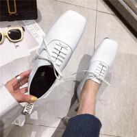 春季时尚休闲英伦风女士单鞋新款系带方头百搭女士女鞋