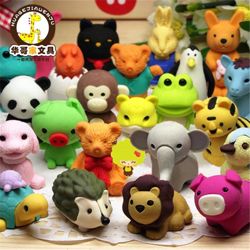 六一儿童礼物学生奖品韩国创意文具批发可爱动物橡皮擦套装大礼包