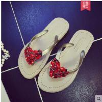 潮时尚外穿凉拖鞋水钻人字拖女防滑韩版平底夹脚可爱甜美沙滩