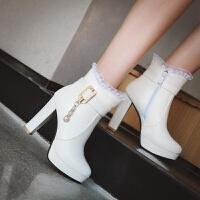 马丁靴女单靴秋冬季加绒女靴子2018新款高跟鞋女短靴厚底粗跟粉色