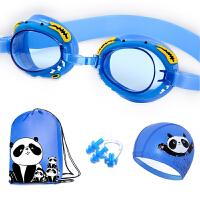 儿童高清防水防雾泳镜游泳装备三件套男女童可爱泳帽耳塞套装