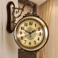 钟表挂钟客厅创意欧式时尚金属双面静音实木美式装饰挂钟 20英寸
