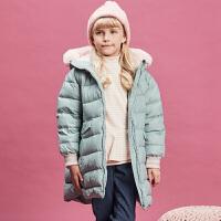 [领90元卷]davebella戴维贝拉kids冬季新款女童中长款中大童羽绒服DBK11193