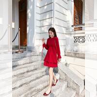 卡贝琳女2019新款秋季法国复古裙山本红色连衣裙女超仙雪纺裙小个子高腰a字裙女