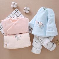 新生儿婴儿夹棉袄薄棉衣分体套装春秋装初生宝宝加厚保暖衣服冬季