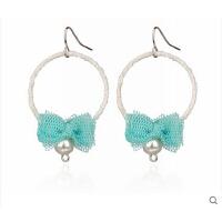 时尚甜美耳饰 甜美时尚仿珍珠蕾丝蝴蝶结耳环 可换无耳洞耳夹