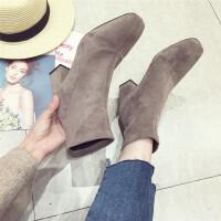 英伦风气质百搭短靴方头气质粗跟舒适套筒短靴冬季加棉女靴休闲靴