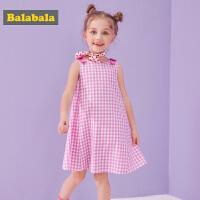 巴拉巴拉童装女童裙子儿童连衣裙夏季新款小童宝宝纯棉格子裙