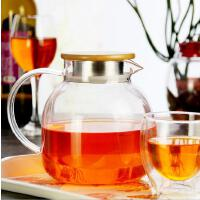 北斗正明大茶壶过滤泡茶壶玻璃加厚加热花茶壶耐高温竹盖壶茶具1300ML