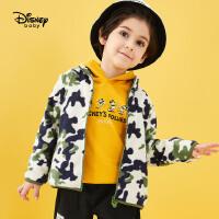 超品返场【3折预估价:44.1元】迪士尼男童外套春秋新款童装卡通米奇立领摇粒绒卡通宝宝儿童上衣