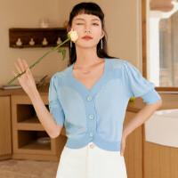 诗凡黎T恤女夏季2021新款冰点蓝甜美花瓣领泡泡袖短款设计感上衣