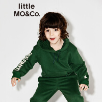 littlemoco连帽抽绳字母印胶休闲运动卫衣中童男女KT1632SWS02 moco
